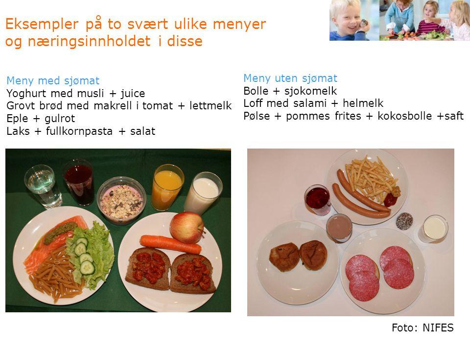 Eksempler på to svært ulike menyer og næringsinnholdet i disse Meny uten sjømat Bolle + sjokomelk Loff med salami + helmelk Pølse + pommes frites + ko