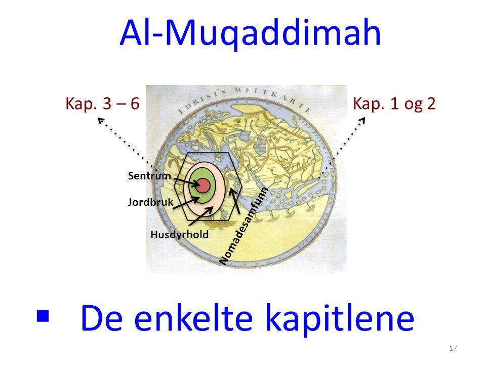  De enkelte kapitlene Al-Muqaddimah 17 Nomadesamfunn Sentrum Jordbruk Husdyrhold Kap. 1 og 2 Kap. 3 – 6