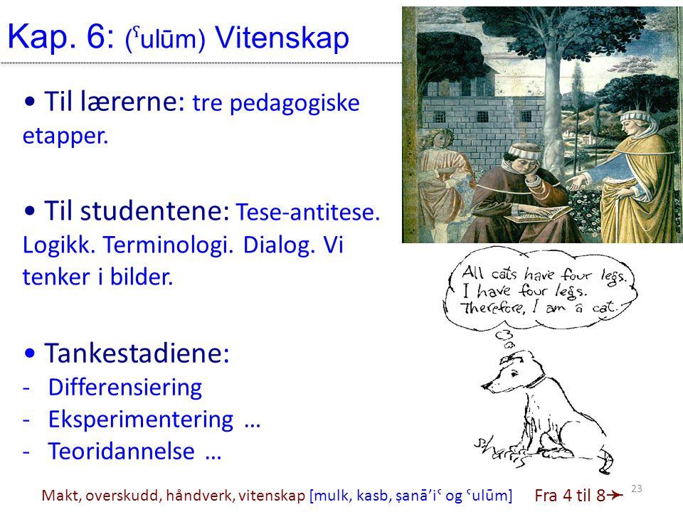 Kap. 6: (ˤulūm) Vitenskap • Tankestadiene: -Differensiering -Eksperimentering … -Teoridannelse … • Til lærerne: tre pedagogiske etapper. • Til student