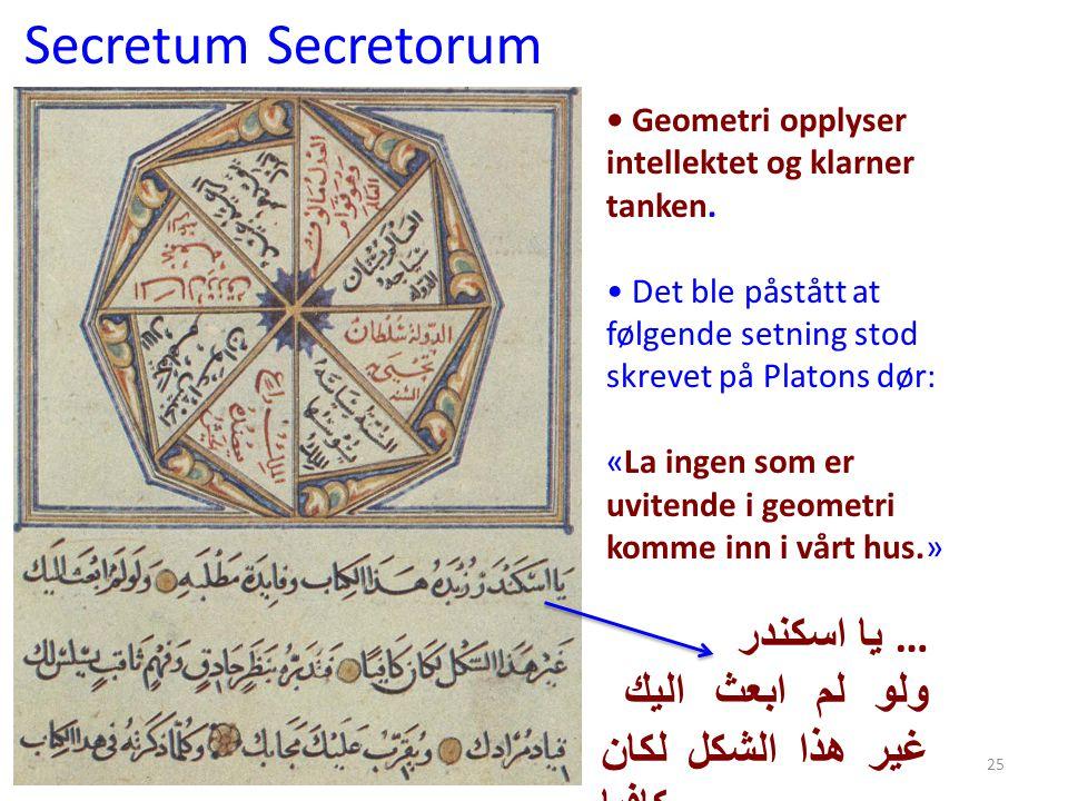 Secretum Secretorum يا اسكندر … ولو لم ابعث اليك غير هذا الشكل لكان كافيا 25 • Geometri opplyser intellektet og klarner tanken. • Det ble påstått at f