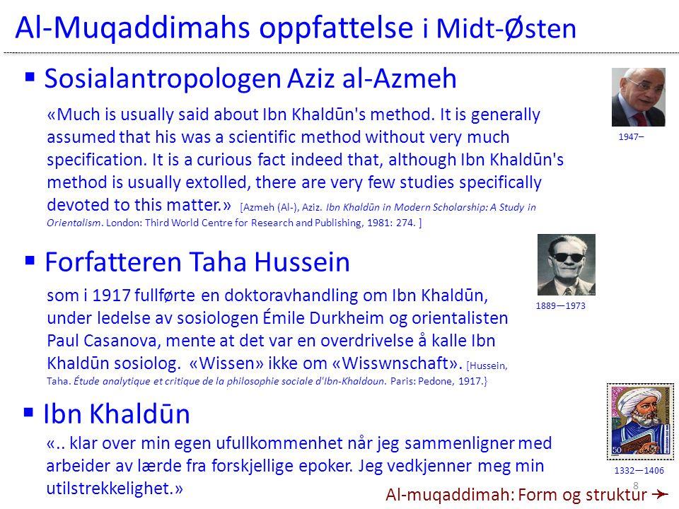 Al-Muqaddimahs oppfattelse i Midt-Østen 1947– 1889—1973  Forfatteren Taha Hussein  Sosialantropologen Aziz al-Azmeh «.. klar over min egen ufullkomm