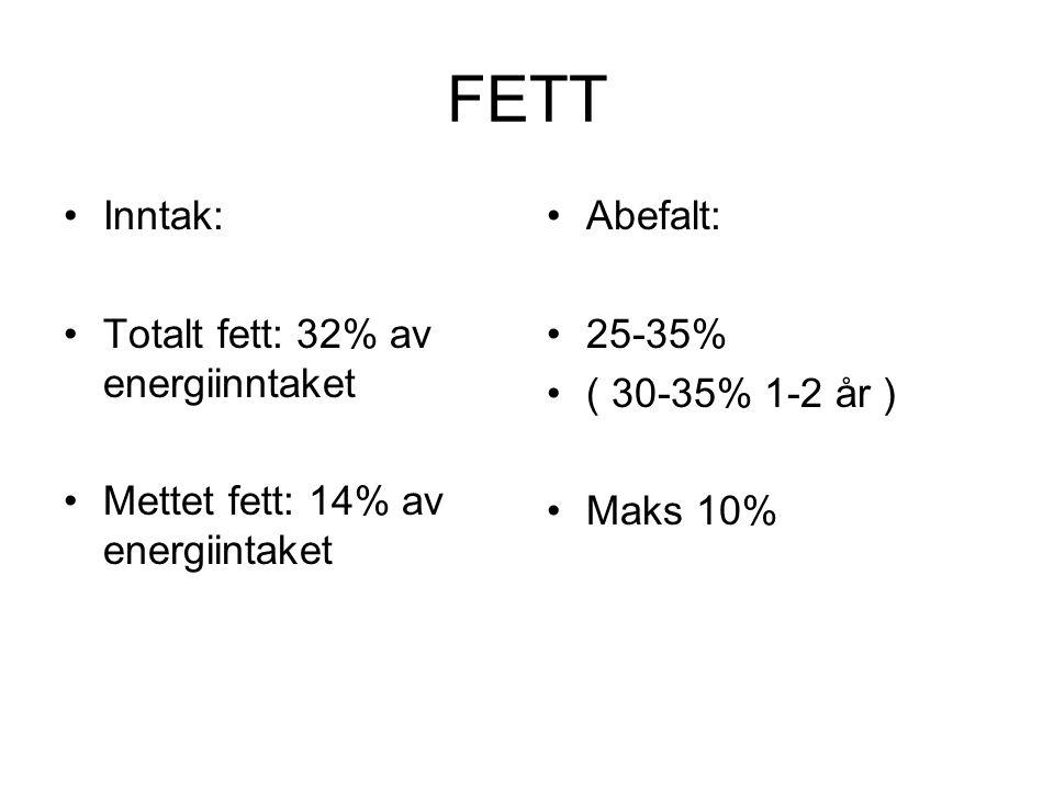 FETT •Inntak: •Totalt fett: 32% av energiinntaket •Mettet fett: 14% av energiintaket •Abefalt: •25-35% •( 30-35% 1-2 år ) •Maks 10%