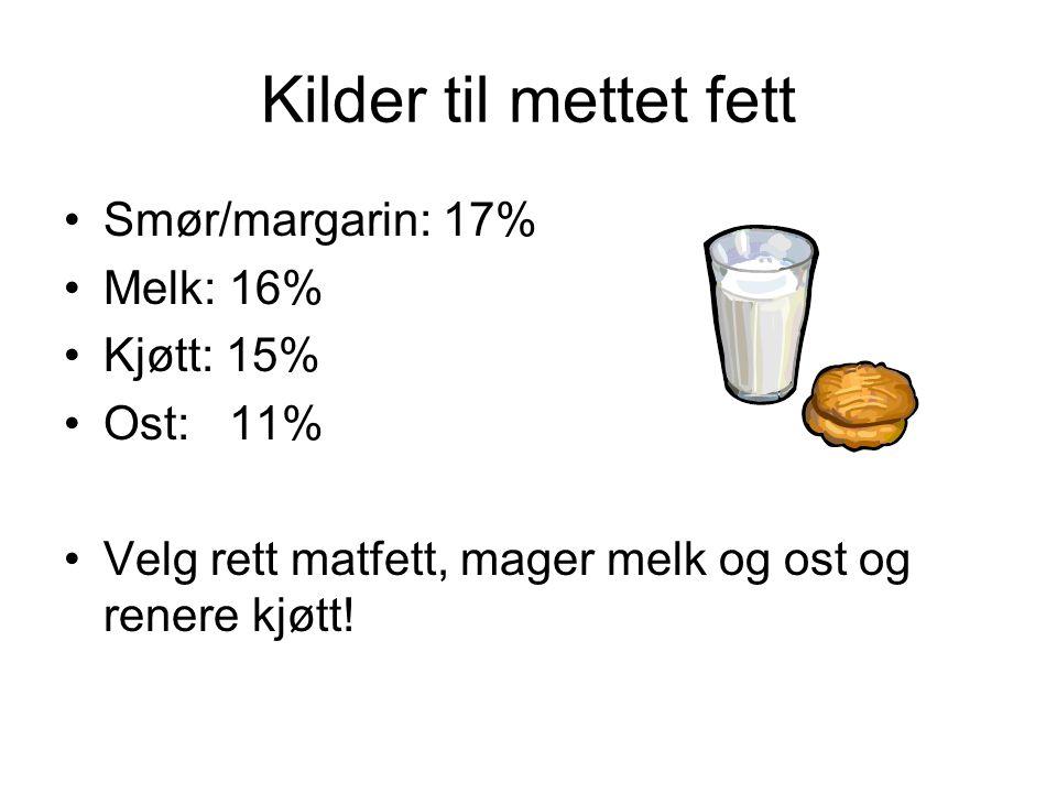 Kilder til mettet fett •Smør/margarin: 17% •Melk: 16% •Kjøtt: 15% •Ost: 11% •Velg rett matfett, mager melk og ost og renere kjøtt!
