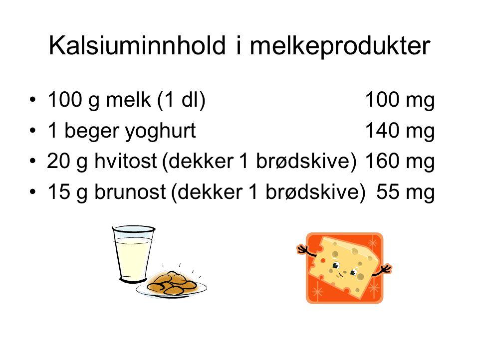 Kalsiuminnhold i melkeprodukter •100 g melk (1 dl)100 mg •1 beger yoghurt140 mg •20 g hvitost (dekker 1 brødskive)160 mg •15 g brunost (dekker 1 brødskive) 55 mg