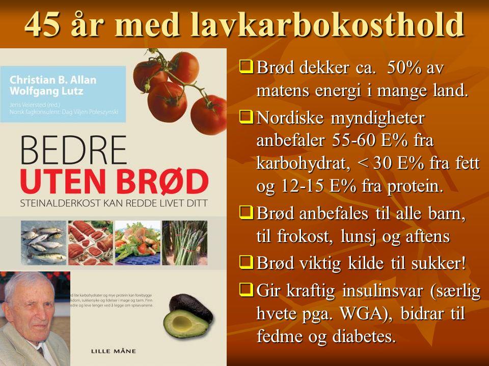 45 år med lavkarbokosthold  Brød dekker ca. 50% av matens energi i mange land.  Nordiske myndigheter anbefaler 55-60 E% fra karbohydrat, < 30 E% fra