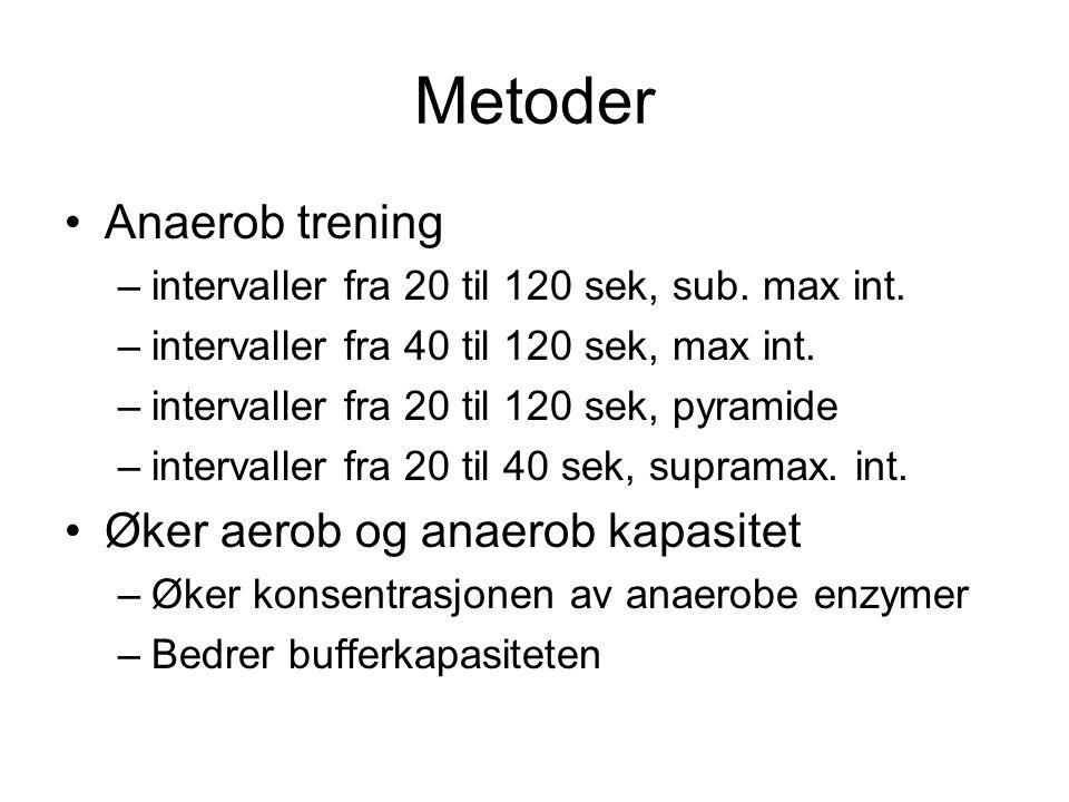 Metoder •Anaerob trening –intervaller fra 20 til 120 sek, sub. max int. –intervaller fra 40 til 120 sek, max int. –intervaller fra 20 til 120 sek, pyr