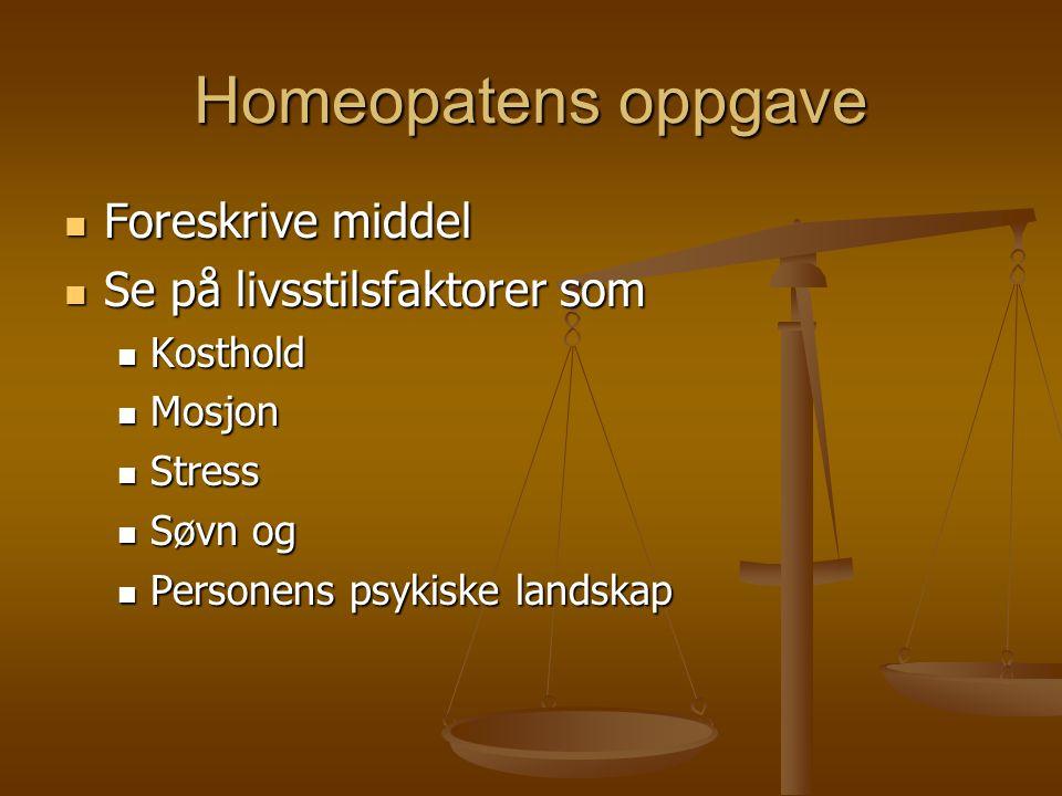 Homeopatens oppgave  Foreskrive middel  Se på livsstilsfaktorer som  Kosthold  Mosjon  Stress  Søvn og  Personens psykiske landskap