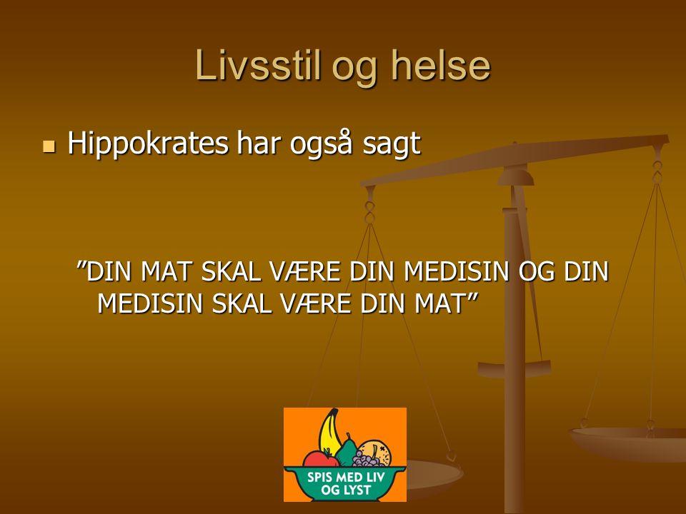 """Livsstil og helse  Hippokrates har også sagt """"DIN MAT SKAL VÆRE DIN MEDISIN OG DIN MEDISIN SKAL VÆRE DIN MAT"""""""
