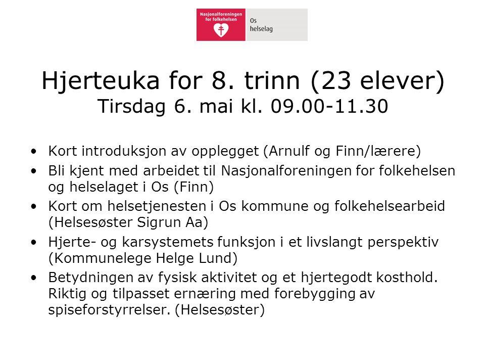 Hjerteuka for 8. trinn (23 elever) Tirsdag 6. mai kl. 09.00-11.30 •Kort introduksjon av opplegget (Arnulf og Finn/lærere) •Bli kjent med arbeidet til