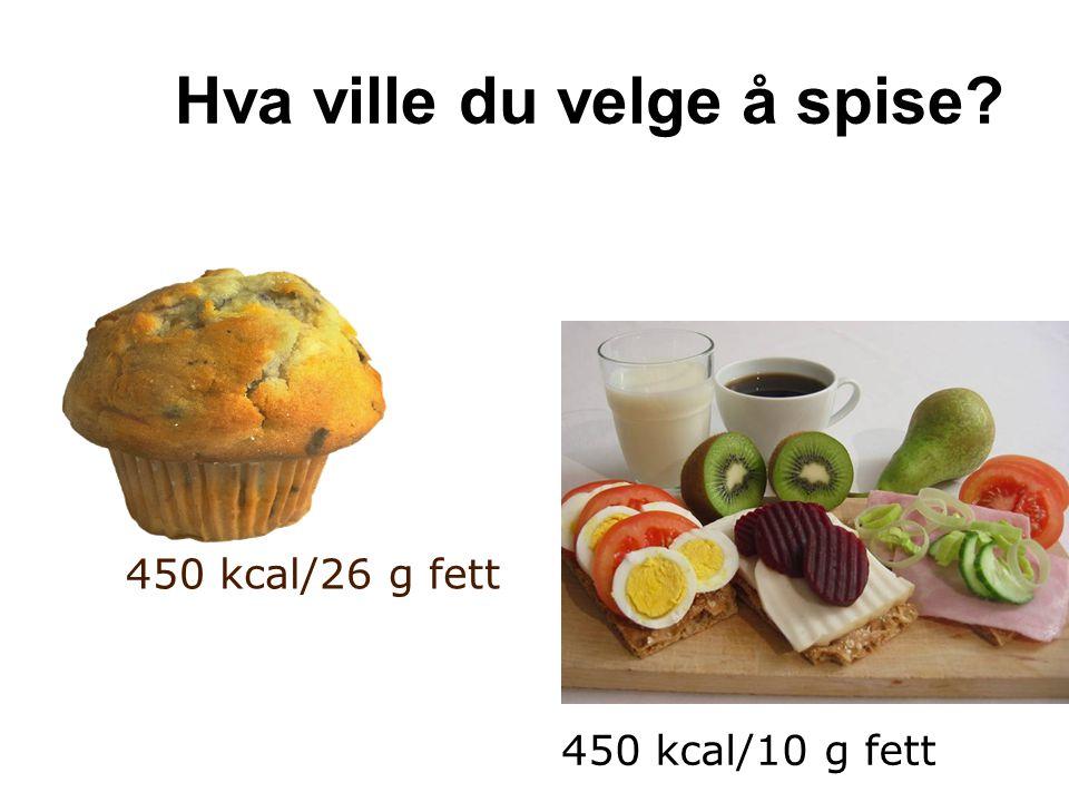 Hva ville du velge å spise? 450 kcal/26 g fett 450 kcal/10 g fett