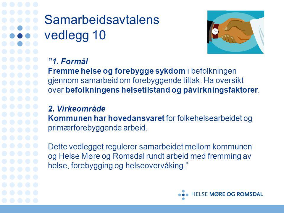 """Samarbeidsavtalens vedlegg 10 """"1. Formål Fremme helse og forebygge sykdom i befolkningen gjennom samarbeid om forebyggende tiltak. Ha oversikt over be"""