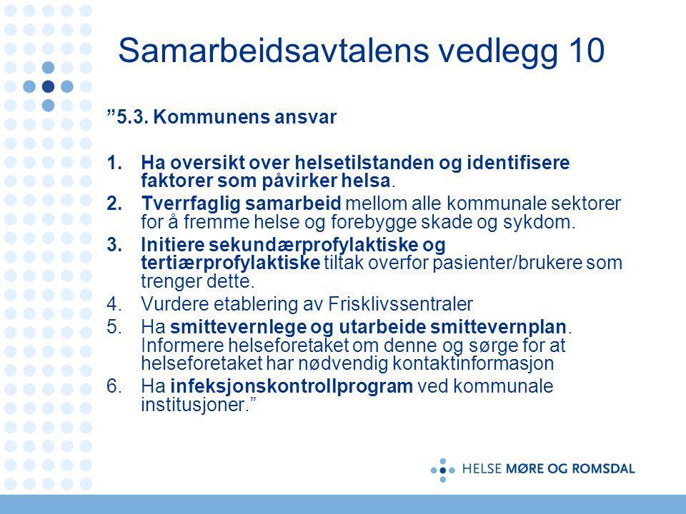 """Samarbeidsavtalens vedlegg 10 """"5.3. Kommunens ansvar 1.Ha oversikt over helsetilstanden og identifisere faktorer som påvirker helsa. 2.Tverrfaglig sam"""