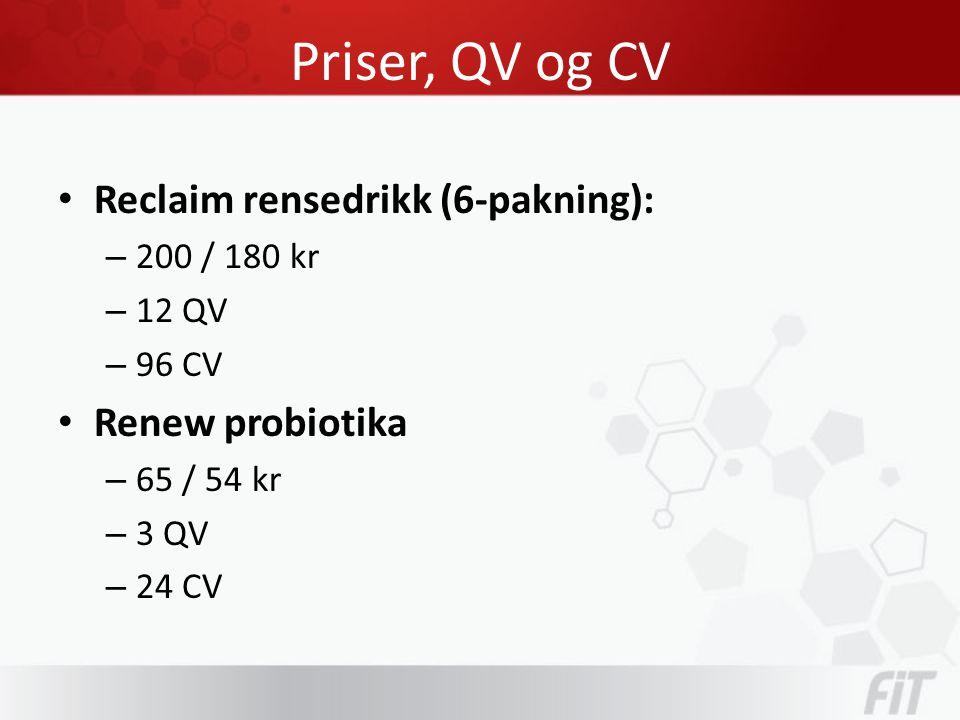 Priser, QV og CV • Reclaim rensedrikk (6-pakning): – 200 / 180 kr – 12 QV – 96 CV • Renew probiotika – 65 / 54 kr – 3 QV – 24 CV