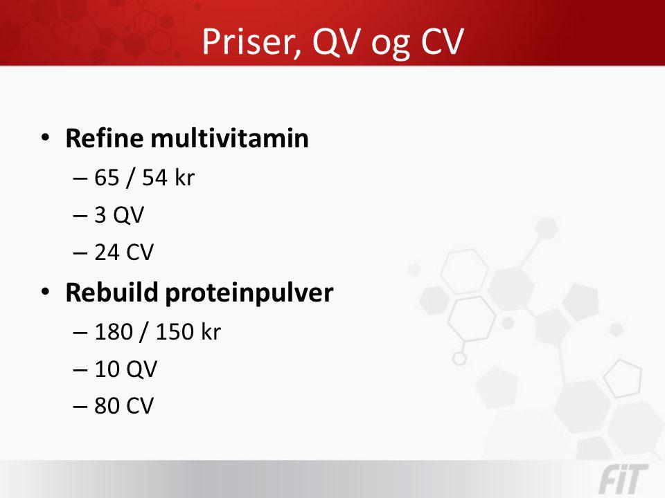 Priser, QV og CV • Refine multivitamin – 65 / 54 kr – 3 QV – 24 CV • Rebuild proteinpulver – 180 / 150 kr – 10 QV – 80 CV