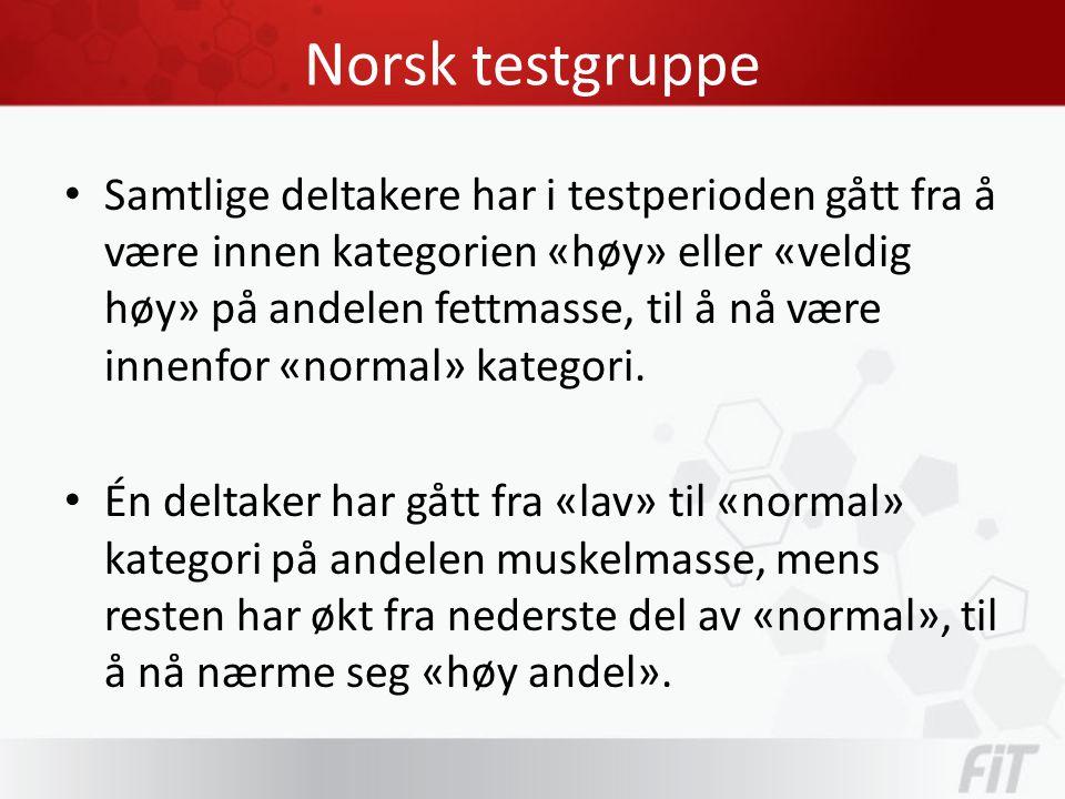 Norsk testgruppe • Samtlige deltakere har i testperioden gått fra å være innen kategorien «høy» eller «veldig høy» på andelen fettmasse, til å nå være innenfor «normal» kategori.