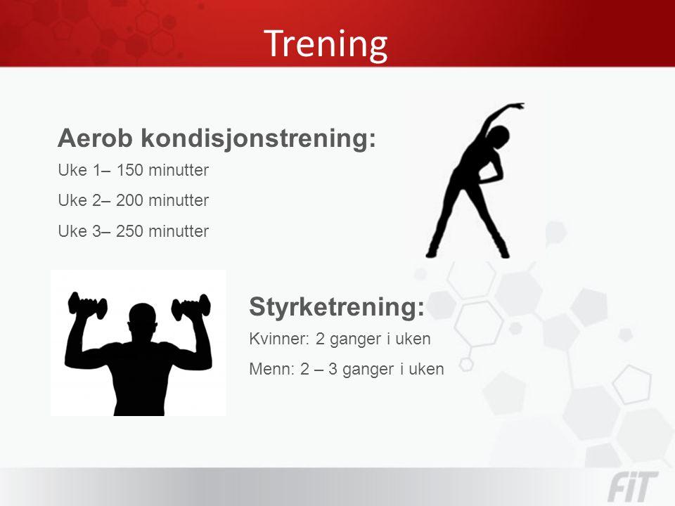 Trening Aerob kondisjonstrening: Uke 1– 150 minutter Uke 2– 200 minutter Uke 3– 250 minutter Styrketrening: Kvinner: 2 ganger i uken Menn: 2 – 3 ganger i uken