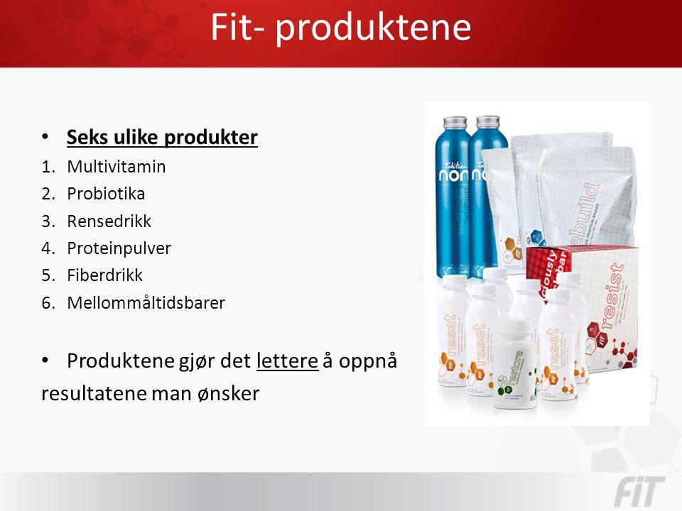 Fit- produktene • Seks ulike produkter 1.Multivitamin 2.Probiotika 3.Rensedrikk 4.Proteinpulver 5.Fiberdrikk 6.Mellommåltidsbarer • Produktene gjør det lettere å oppnå resultatene man ønsker