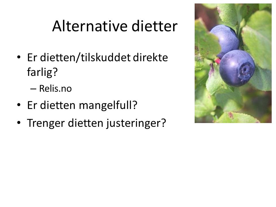 Alternative dietter • Er dietten/tilskuddet direkte farlig? – Relis.no • Er dietten mangelfull? • Trenger dietten justeringer?