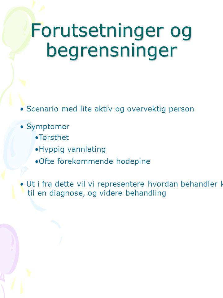 Forutsetninger og begrensninger • Scenario med lite aktiv og overvektig person • Symptomer •Tørsthet •Hyppig vannlating •Ofte forekommende hodepine •