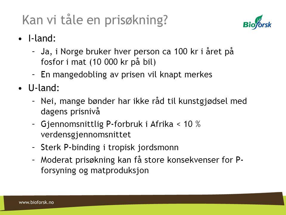 Kan vi tåle en prisøkning? •I-land: –Ja, i Norge bruker hver person ca 100 kr i året på fosfor i mat (10 000 kr på bil) –En mangedobling av prisen vil