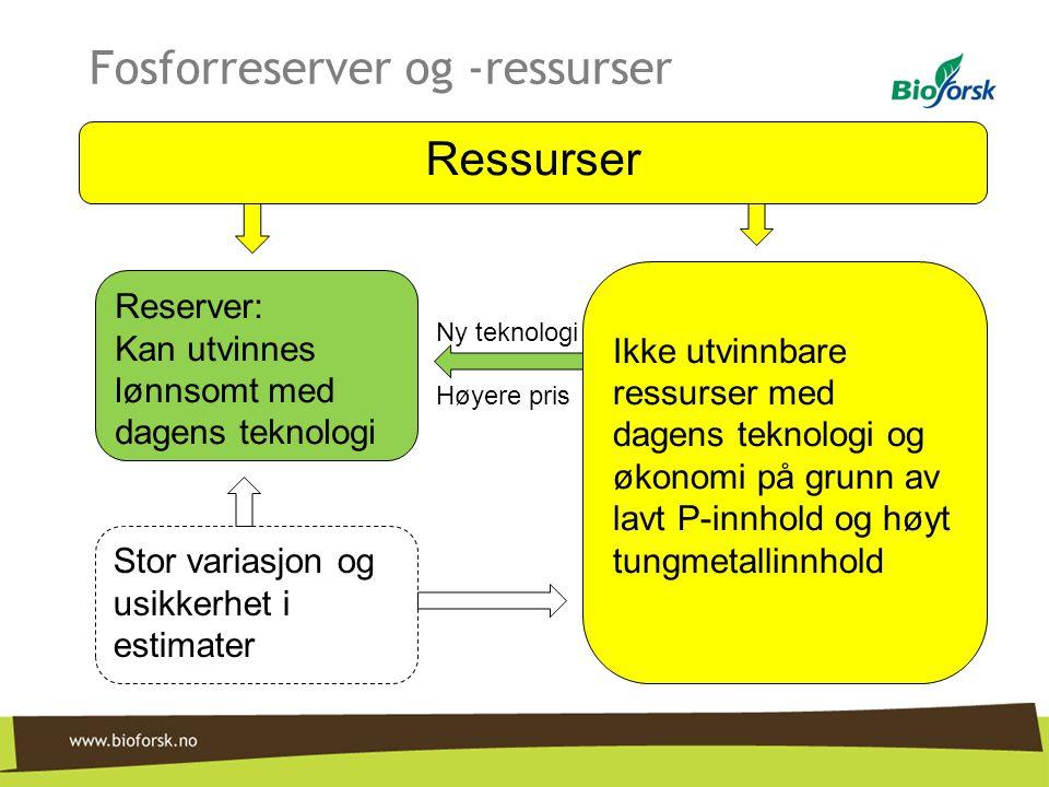 Fosforreserver og -ressurser Ny teknologi Høyere pris Reserver: Kan utvinnes lønnsomt med dagens teknologi Ressurser Ikke utvinnbare ressurser med dag