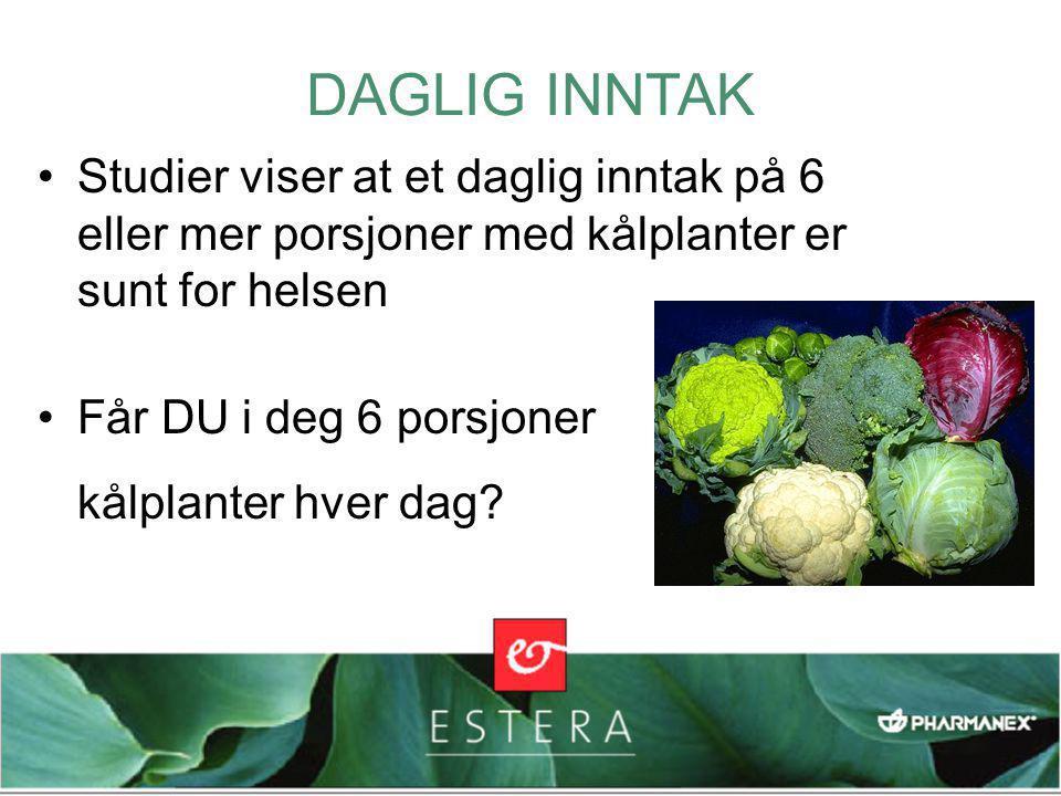 •Studier viser at et daglig inntak på 6 eller mer porsjoner med kålplanter er sunt for helsen •Får DU i deg 6 porsjoner kålplanter hver dag? DAGLIG IN