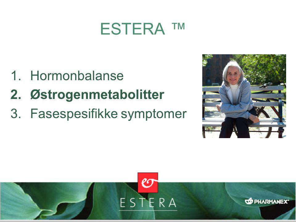 ESTERA ™ 1.Hormonbalanse 2.Østrogenmetabolitter 3.Fasespesifikke symptomer