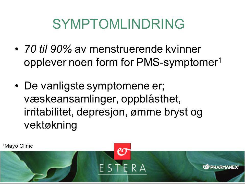 SYMPTOMLINDRING •70 til 90% av menstruerende kvinner opplever noen form for PMS-symptomer 1 •De vanligste symptomene er; væskeansamlinger, oppblåsthet