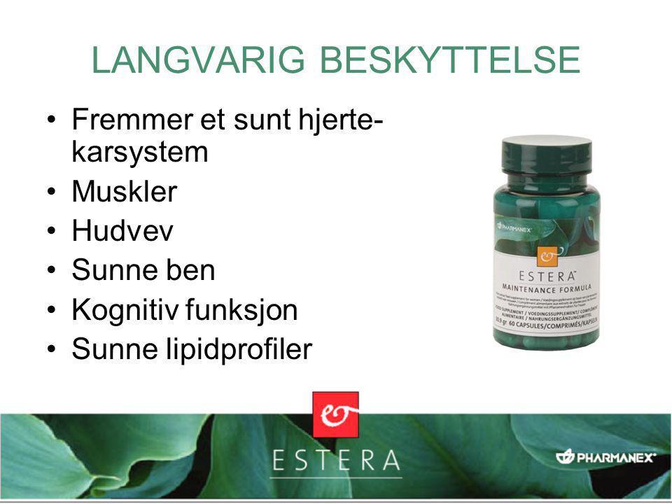 LANGVARIG BESKYTTELSE •Fremmer et sunt hjerte- karsystem •Muskler •Hudvev •Sunne ben •Kognitiv funksjon •Sunne lipidprofiler
