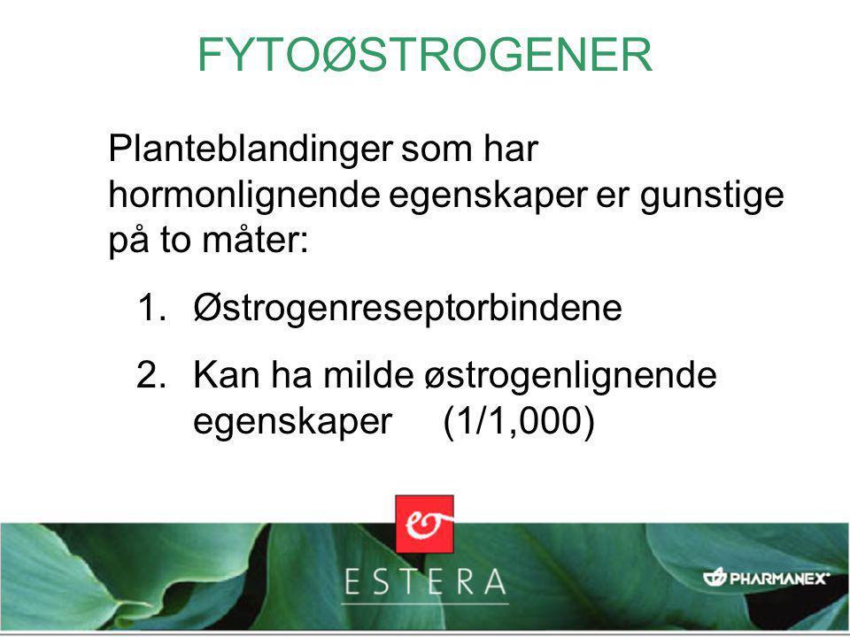 FYTOØSTROGENER Planteblandinger som har hormonlignende egenskaper er gunstige på to måter: 1.Østrogenreseptorbindene 2.Kan ha milde østrogenlignende egenskaper (1/1,000)