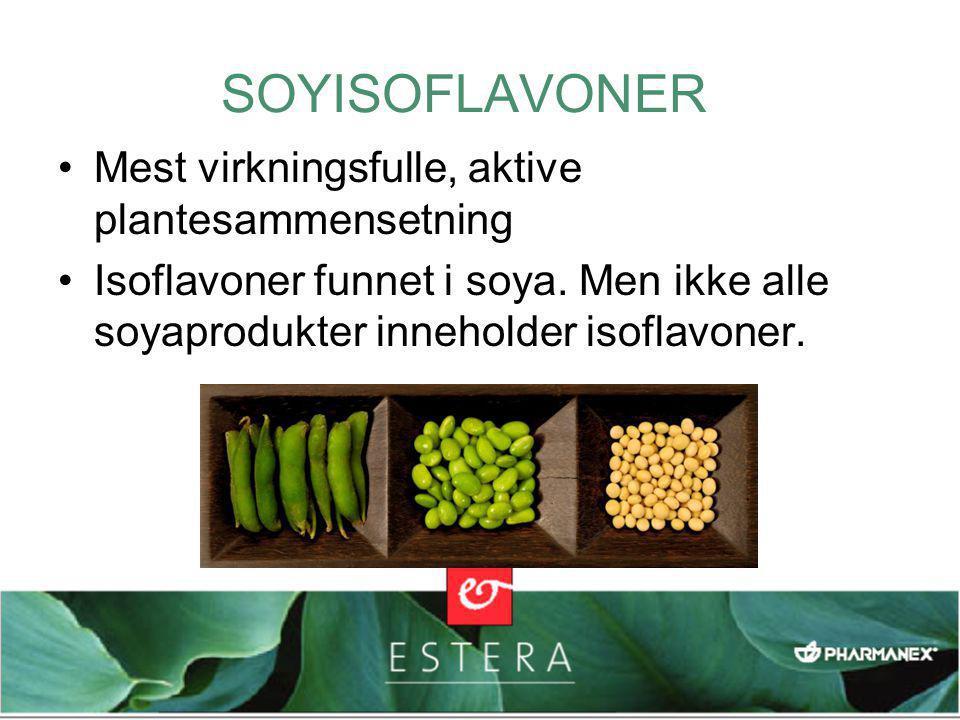 •Mest virkningsfulle, aktive plantesammensetning •Isoflavoner funnet i soya.