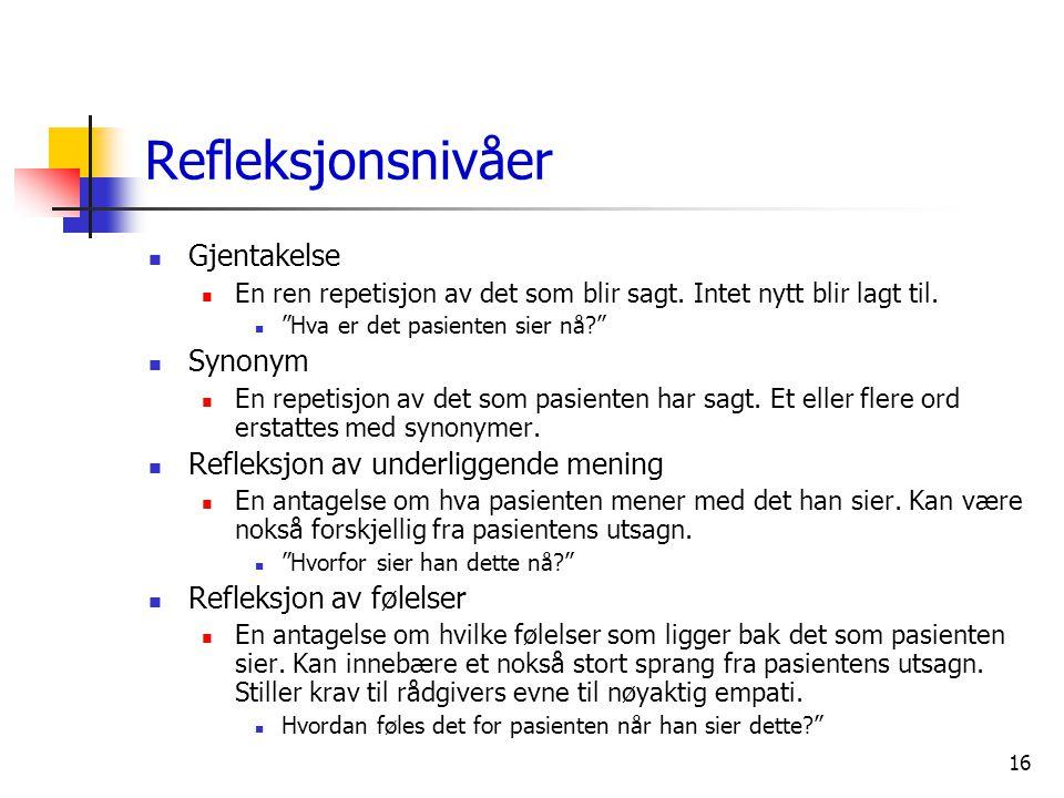 """16 Refleksjonsnivåer  Gjentakelse  En ren repetisjon av det som blir sagt. Intet nytt blir lagt til.  """"Hva er det pasienten sier nå?""""  Synonym  E"""