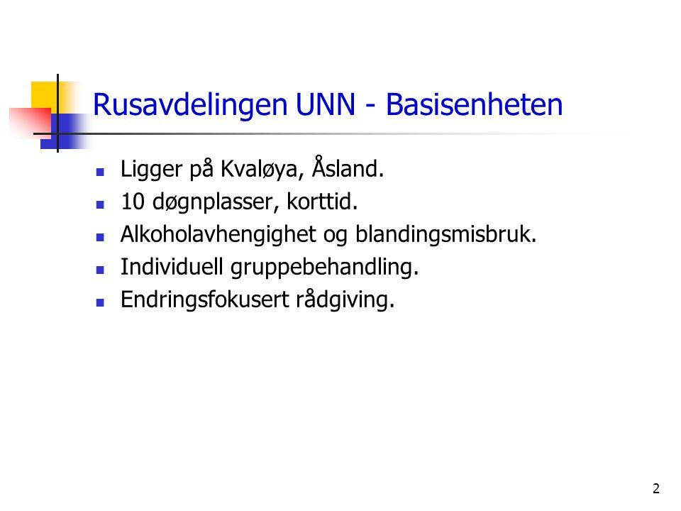 2 Rusavdelingen UNN - Basisenheten  Ligger på Kvaløya, Åsland.  10 døgnplasser, korttid.  Alkoholavhengighet og blandingsmisbruk.  Individuell gru