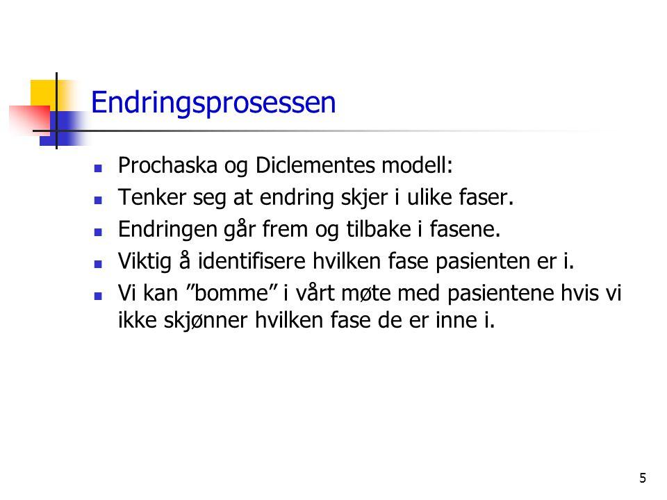 5 Endringsprosessen  Prochaska og Diclementes modell:  Tenker seg at endring skjer i ulike faser.  Endringen går frem og tilbake i fasene.  Viktig