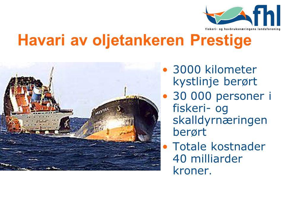 Havari av oljetankeren Prestige •3000 kilometer kystlinje berørt •30 000 personer i fiskeri- og skalldyrnæringen berørt •Totale kostnader 40 milliarde