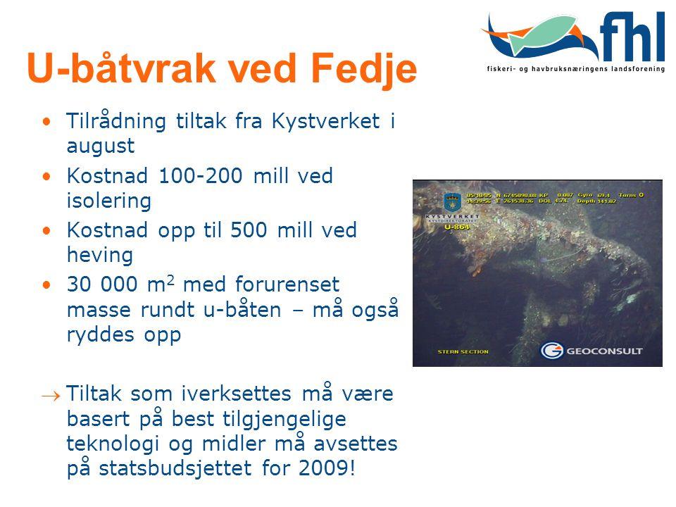 U-båtvrak ved Fedje •Tilrådning tiltak fra Kystverket i august •Kostnad 100-200 mill ved isolering •Kostnad opp til 500 mill ved heving •30 000 m 2 me