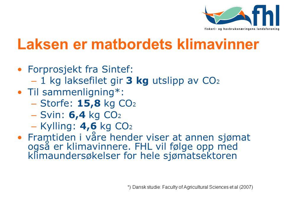 Laksen er matbordets klimavinner •Forprosjekt fra Sintef: – 1 kg laksefilet gir 3 kg utslipp av CO 2 •Til sammenligning*: – Storfe: 15,8 kg CO 2 – Svi