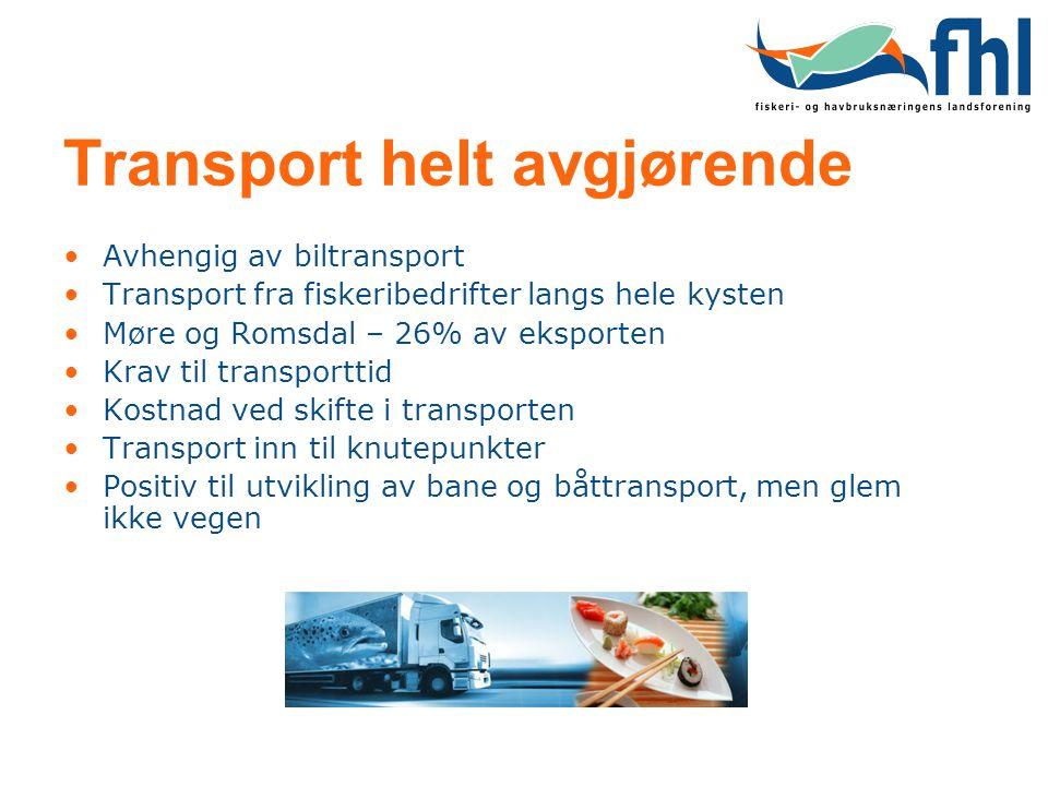 Transport helt avgjørende •Avhengig av biltransport •Transport fra fiskeribedrifter langs hele kysten •Møre og Romsdal – 26% av eksporten •Krav til tr