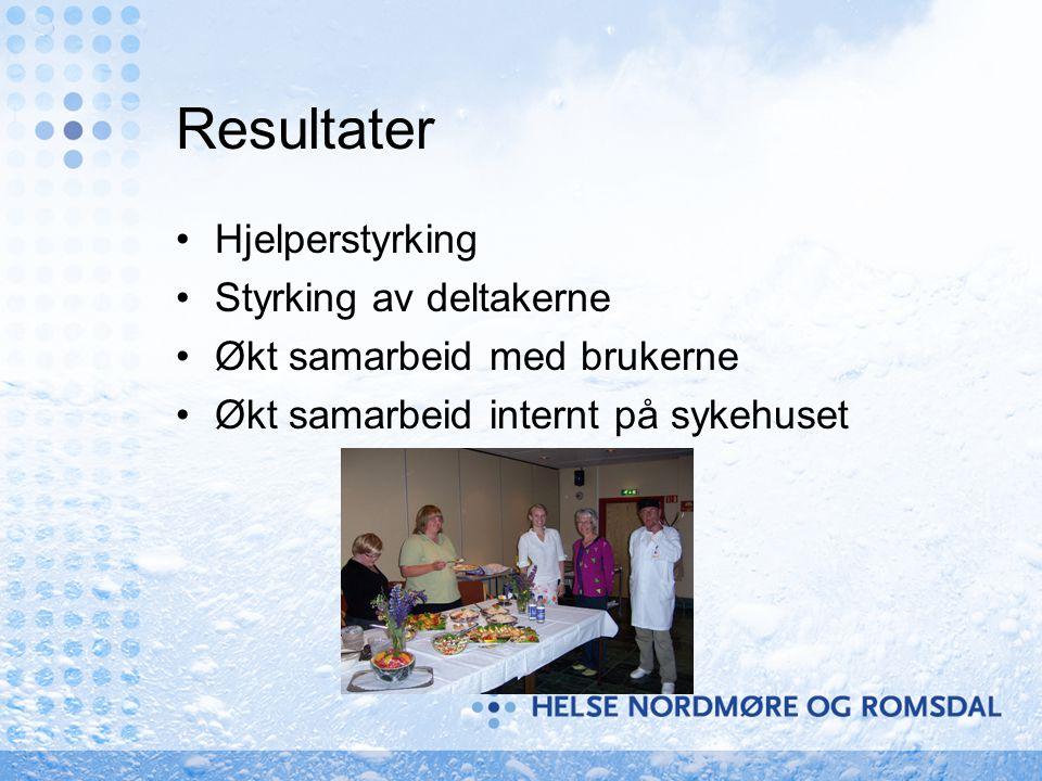 Resultater •Hjelperstyrking •Styrking av deltakerne •Økt samarbeid med brukerne •Økt samarbeid internt på sykehuset