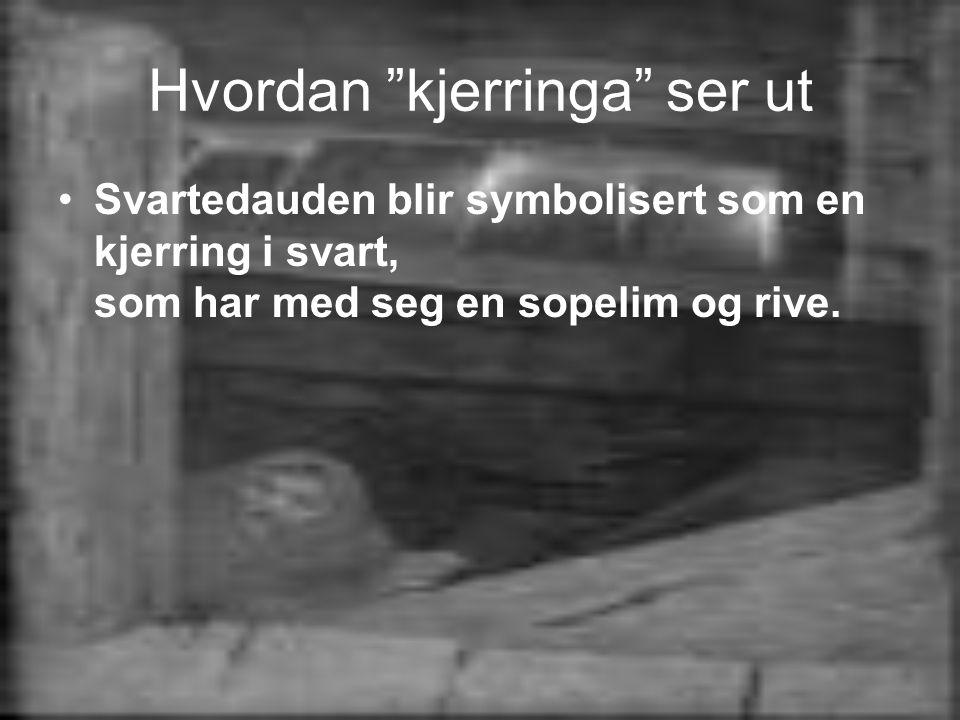 Hvordan kjerringa ser ut •Svartedauden blir symbolisert som en kjerring i svart, som har med seg en sopelim og rive.