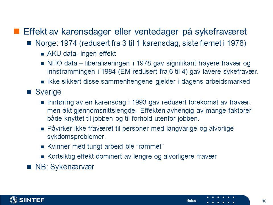 Helse 16  Effekt av karensdager eller ventedager på sykefraværet  Norge: 1974 (redusert fra 3 til 1 karensdag, siste fjernet i 1978)  AKU data- ing