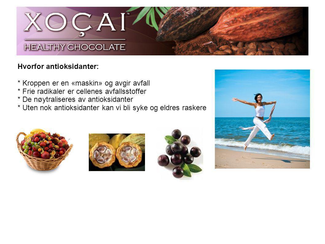 Xoçai sjokoladen: * Kun 3 biter inneholder dagsbehovet av antioksidanter.