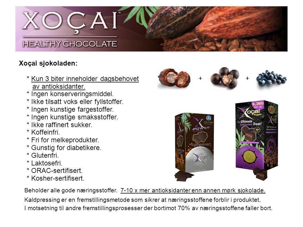 Xoçai sjokoladen: * Kun 3 biter inneholder dagsbehovet av antioksidanter. * Ingen konserveringsmiddel. * Ikke tilsatt voks eller fyllstoffer. * Ingen