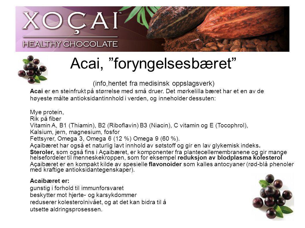 """Acai, """"foryngelsesbæret"""" (info,hentet fra medisinsk oppslagsverk) Acai er en steinfrukt på størrelse med små druer. Det mørkelilla bæret har et en av"""
