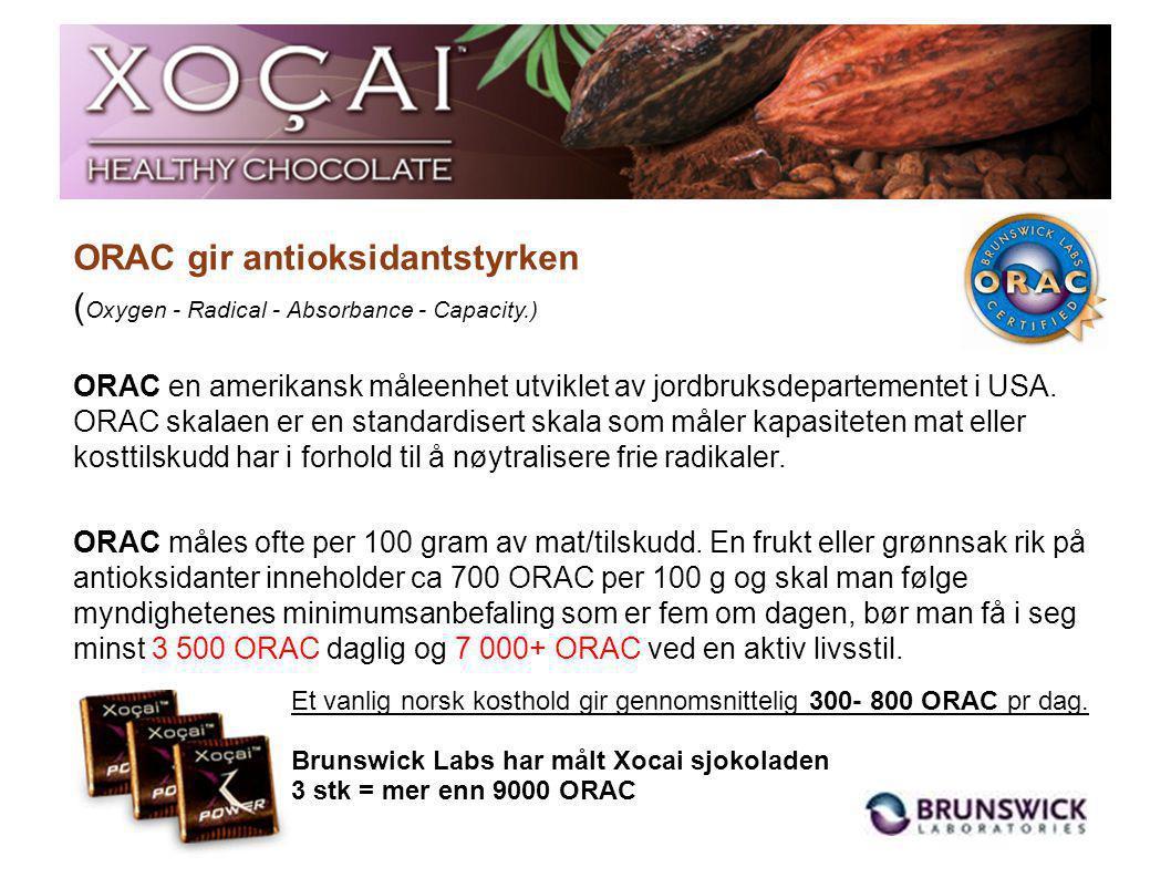 VektProduktKalCa pris 0,7 kgSpinat, fersk158 kr 60 0,8 kgRøde druer490 kr 70 1,2 kgBrokkoli, fersk418 kr 60 2,9 kgTomater525 kr 87 5,2 kgGulrøtter2100 kr 104 4,8 kgBananer4313 kr 90 Xocai sjokolade, sammenlignet med frukt/grønt Anbefalt dagsdose, Xocai sjokolade 3 biter x 6gr = 18 gr 98 kalorier / ca 23 kr pr.