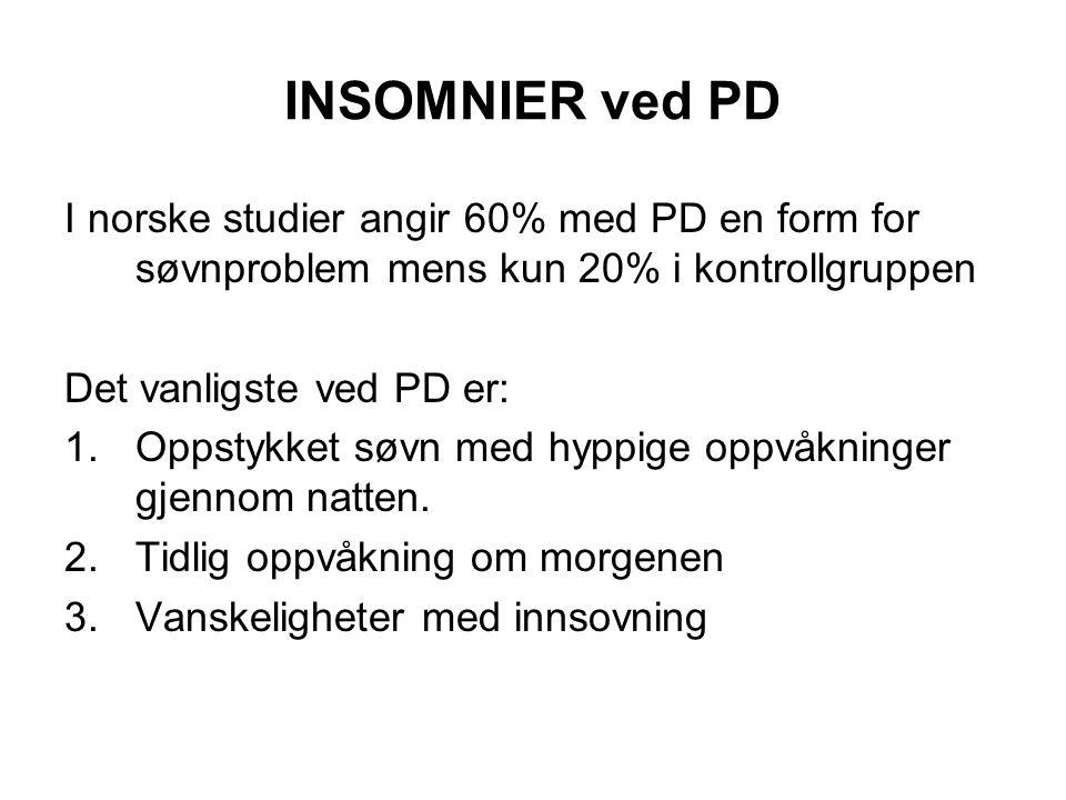 INSOMNIER ved PD I norske studier angir 60% med PD en form for søvnproblem mens kun 20% i kontrollgruppen Det vanligste ved PD er: 1.Oppstykket søvn med hyppige oppvåkninger gjennom natten.