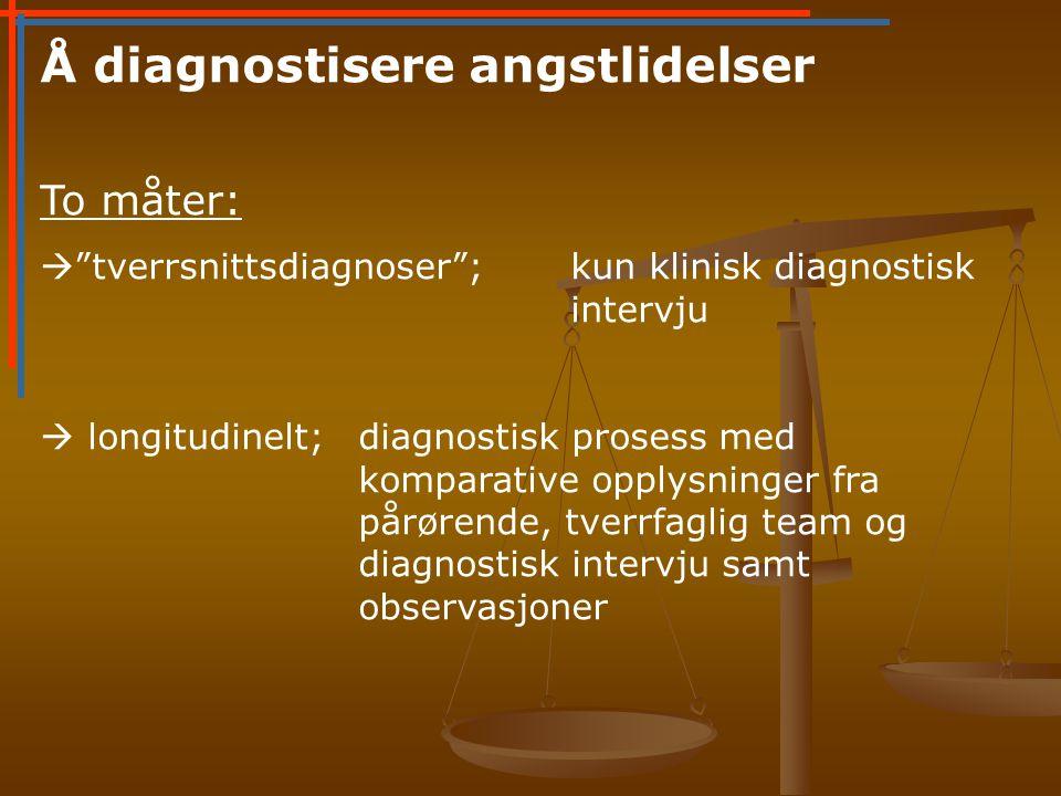 Å diagnostisere angstlidelser To måter:  tverrsnittsdiagnoser ;kun klinisk diagnostisk intervju  longitudinelt;diagnostisk prosess med komparative opplysninger fra pårørende, tverrfaglig team og diagnostisk intervju samt observasjoner