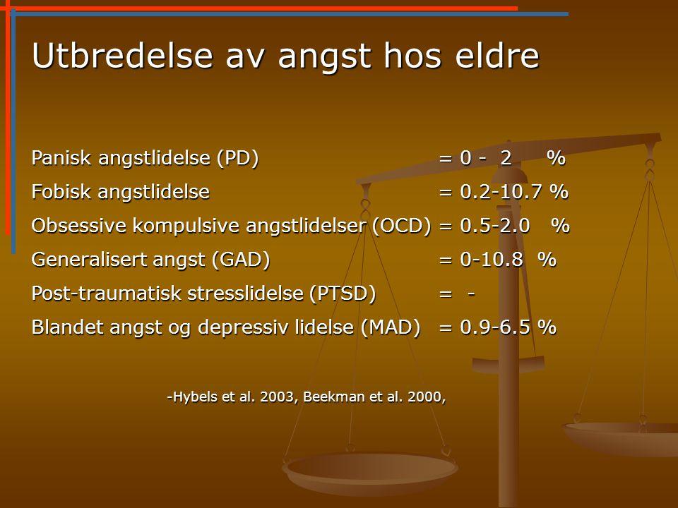 Utbredelse av angst hos eldre Panisk angstlidelse (PD)= 0 - 2 % Fobisk angstlidelse = 0.2-10.7 % Obsessive kompulsive angstlidelser (OCD)= 0.5-2.0 % Generalisert angst (GAD)= 0-10.8 % Post-traumatisk stresslidelse (PTSD)= - Blandet angst og depressiv lidelse (MAD)= 0.9-6.5 % -Hybels et al.