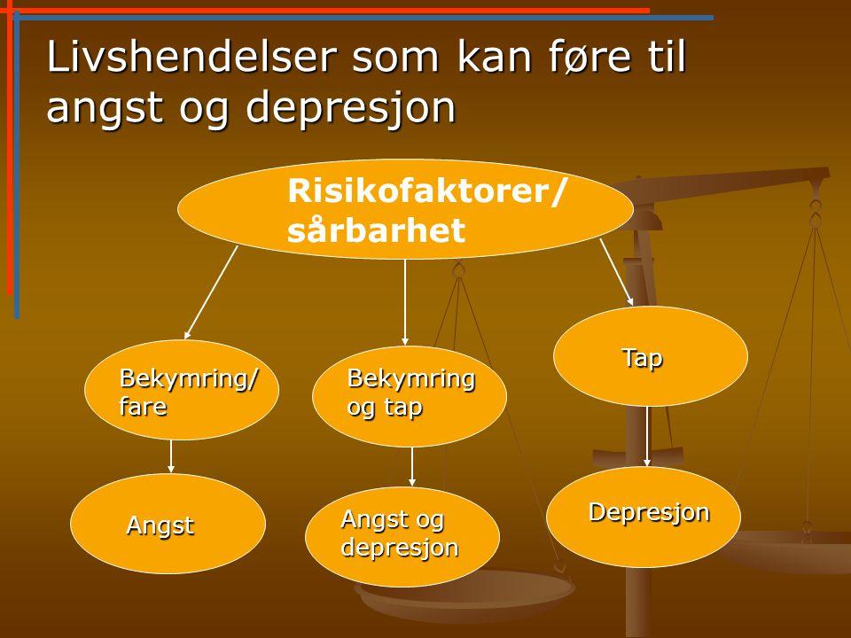 Risikofaktorer/ sårbarhet Bekymring/ fare Angst Bekymring og tap Angst og depresjon Tap Depresjon Livshendelser som kan føre til angst og depresjon