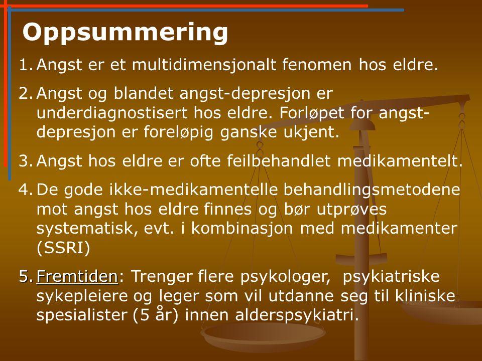 Oppsummering 1.Angst er et multidimensjonalt fenomen hos eldre.